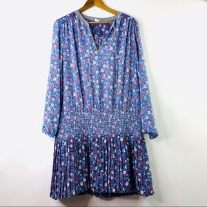 Gap Large Blue Floral Pleated Dress L Long Sleeve
